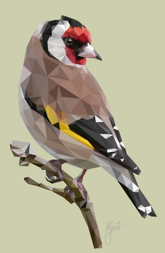 European Goldfinch, low poly, 2017. Digital Art created by Dennis Smit. www.schmitzl.nl