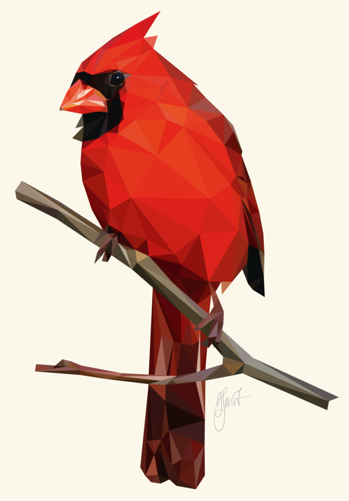 Northern Cardinal, low poly digital art by Dennis Smit